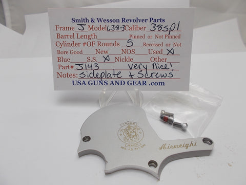 J143 Smith and Wesson J Frame Model 638 -3 Sideplate & Screws SS Used 38Spl
