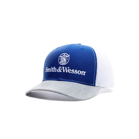 WEB000048 Smith & Wesson Blue White & Grey Trucker Style Hat