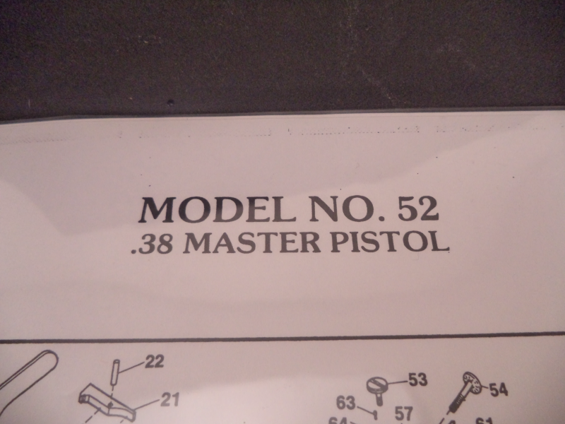 DM52 Smith & Wesson Model 52 .38 Special Master Pistol Parts ...