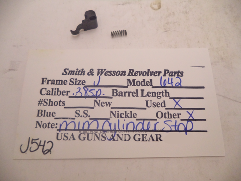 J542 Smith & Wesson Used J Frame Model 642 .38 Special MIM Cylinder Stop & Spring