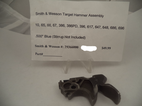 29366000 Smith & Wesson New K, L Frame Models 10 ,65, 66, 67, 386, 386PD, 396, 617, 647, 648, 686, 696 Blue Target Hammer Assembly