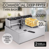 Deep Fryer 5000W 20L  Electric Commercial Twin Basket Steel Benchtop