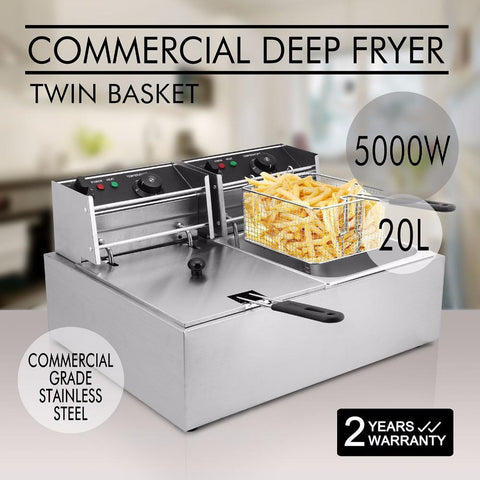 Deep Fryer 5000W 20L  Electric Commercial Twin Basket Steel Benchtop - Your Everything Supplier