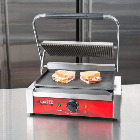 Panini Sandwich Grill Commercial  Avantco  P75SG Single & P88SG Double Grooved Top Smooth Bottom