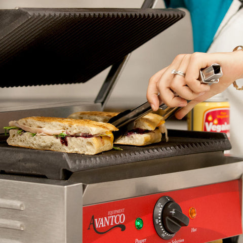 Panini Sandwich Grill Commercial Avantco P78 Single & P84 Double Grooved