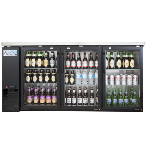 "Refrigerator/Cooler Narrow Glass Door Back Bar Stainless Steel Top and LED Lighting Avantco UBB-24-72G 72"" - Your Everything Supplier"