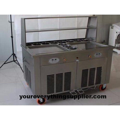 IC1000 Double Square Pan Roll Thai Fried Ice Cream Machine with 11 Compartment - Your Everything Supplier (Y.E.S Ltd.)