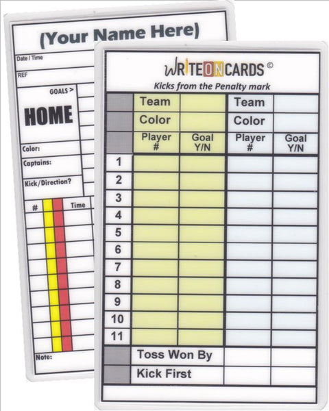 Game Record Card PLUS - Penalty Kicks (GPK) - WriteOnCards.com