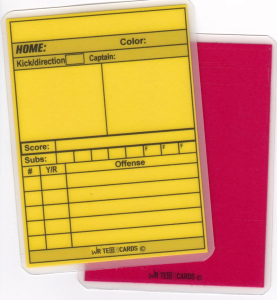 Rugby referee official cards red yellow set