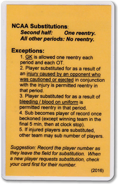 NCAA Substitution Card (Sub) - WriteOnCards.com