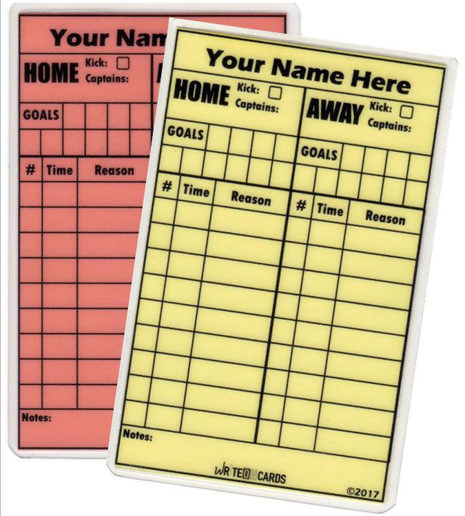 Red & Yellow (neon) Set, soccer - Standard Size (RYN-S) - WriteOnCards.com