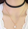 Leather Waterdrop Layered Choker