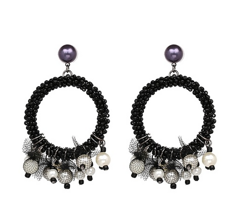 Pearls & Lace Statement Hoop Earrings