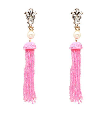 Beaded Tassel Earrings - Pink