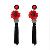 Ethnic Statement Flower Tassel Earrings
