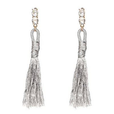 Long Metallic Tassel Earrings