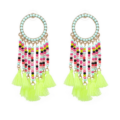 Neon Hoop Beaded Tassel Earrings