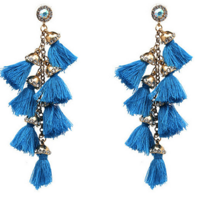Rio Tassel Earrings - Blue