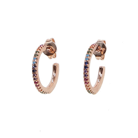 Rosegold Rainbow MINI Hoops