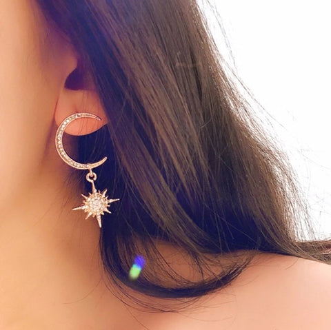 Moon Star Dangle Earrings