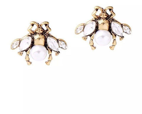 White Pearl Bee Studs