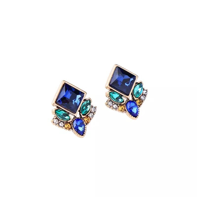Blue Cluster Stud Earrings