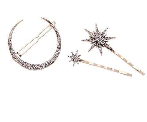 Moon Star Hair Clip Set
