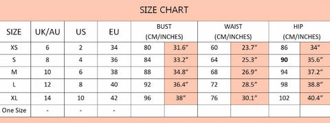 Size Chart at Fashion at Fashion Genie Boutique