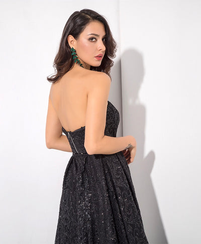 A Star Is Born Black Glitter Strapless Maxi Gown Dress - Fashion Genie Boutique