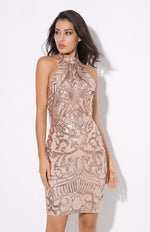 Meilani Rose Gold Sequin Halter Neck Mini Dress - Fashion Genie Boutique