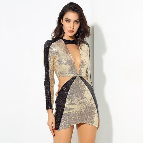 Big Tings Gold & Black Long Sleeve Sequin Mini Dress - Fashion Genie Boutique