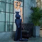 Sweet Lace Navy Satin Lace Maxi Fishtail Dress - Fashion Genie Boutique