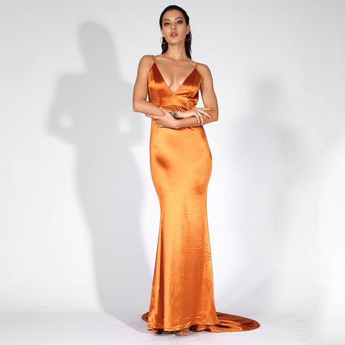 Glowing Goddess Orange Satin Fishtail Maxi Dress - Fashion Genie Boutique