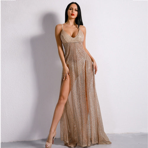 Dare To Bare Gold Metallic Double Split Sequin Maxi Dress - Fashion Genie Boutique