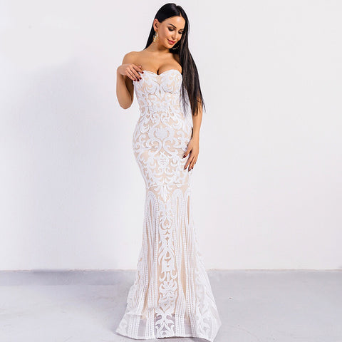 Poetic Love White Sequin Strapless Maxi Dress - Fashion Genie Boutique