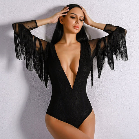 Luxury Merritt Black Fringe Sleeve Mesh Bodysuit - Fashion Genie Boutique