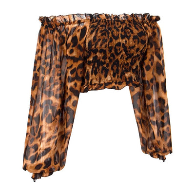 Alicante Cute Bardot Leopard Print Long Sleeve Crop Top - Fashion Genie Boutique