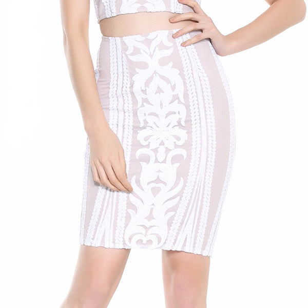 Deluxe Love White & Nude Sequin Mini Skirt - Fashion Genie Boutique