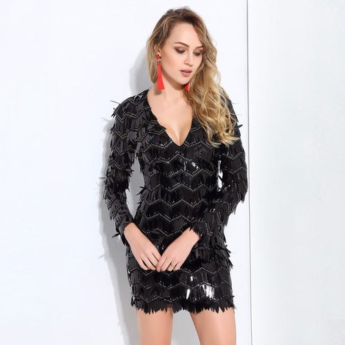 Keep Them Keen Black Long Sleeve Sequin Tassel Mini Dress - Fashion Genie Boutique