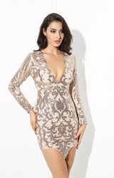 Dance Floor Romance Nude And Rose Gold Sequin Mini Dress - Fashion Genie Boutique