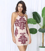 Celebrity Spotlight Nude And Red Halter Strappy Mini Dress - Fashion Genie Boutique