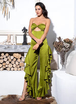 Sweet Seduction Green Cut Out Ruffle Jumpsuit - Fashion Genie Boutique