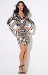 Gal Crush Black And Nude Sequin Long Sleeve Mini Dress - Fashion Genie Boutique