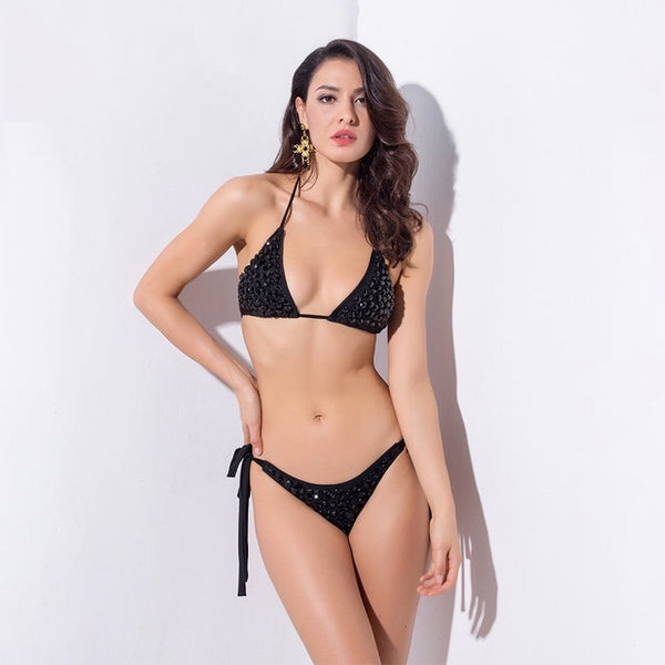 Beach Bunny Black Crystal Embellished Bikini Swimsuit - Fashion Genie Boutique