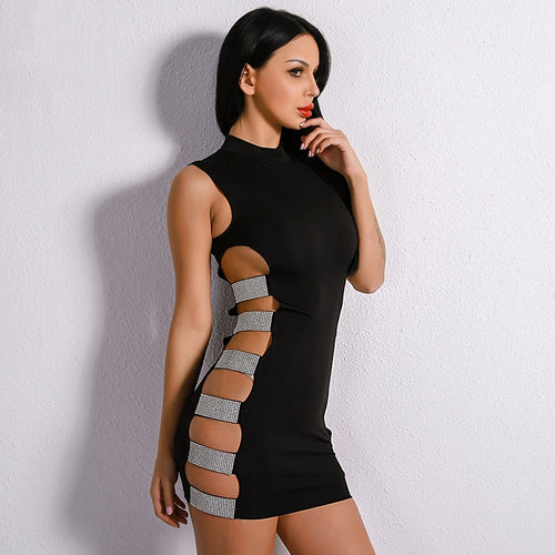 Cut it Out Black Embellished Cut Out Mini Dress - Fashion Genie Boutique