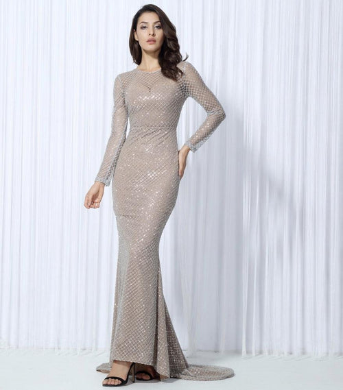 d2b08d72d28 So Beautiful Silver Glitter Long Sleeve Maxi Dress - Fashion Genie Boutique