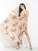 Rosabella Nude Floral Print Maxi Dress - Fashion Genie Boutique