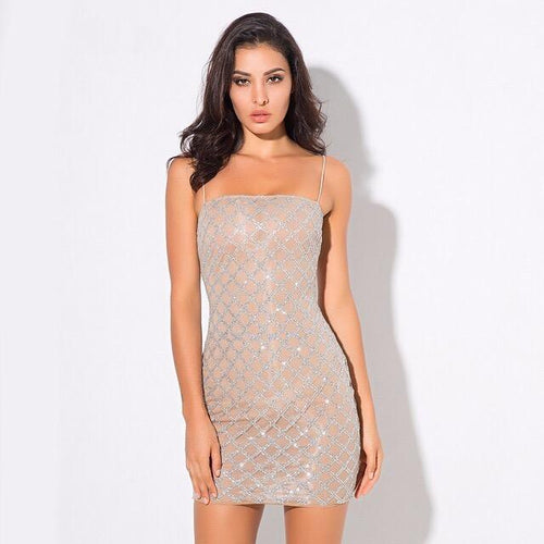 Deluxe Doll Silver Glitter Embellished Mini Dress - Fashion Genie Boutique