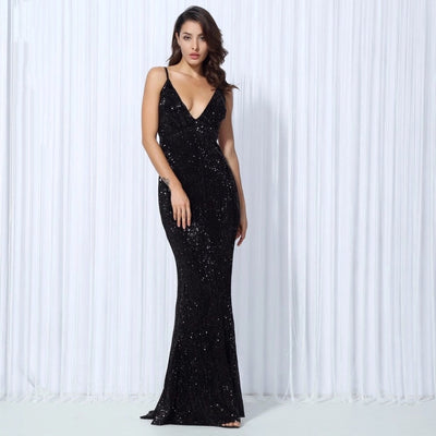 Goal Digger Black Embellished Sequin Maxi Party Gown Dress - Fashion Genie Boutique
