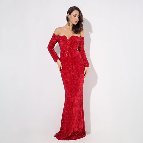 Dressed To Thrill Red Sequin Bardot Maxi Dress